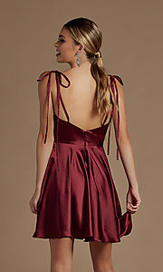 Image of short a-line homecoming dress with shoulder ties. Style: NA-21-R701 Detail Image 2