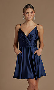 Image of short a-line homecoming dress with shoulder ties. Style: NA-21-R701 Detail Image 4