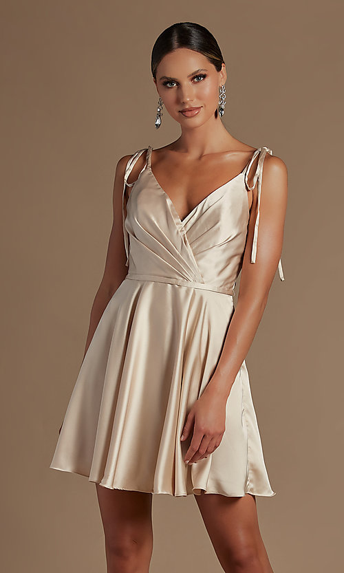 Image of short a-line homecoming dress with shoulder ties. Style: NA-21-R701 Detail Image 3