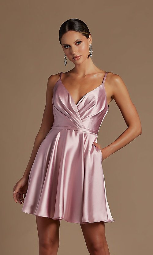 Image of short a-line homecoming dress with shoulder ties. Style: NA-21-R701 Detail Image 5