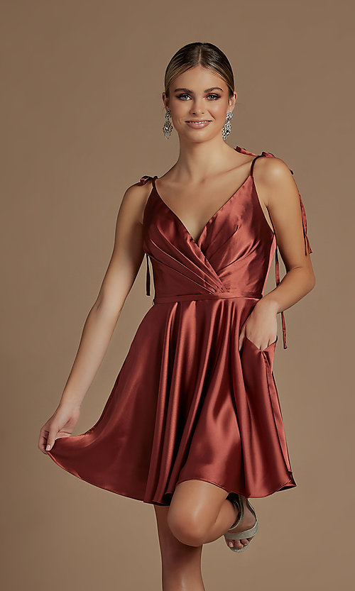 Image of short a-line homecoming dress with shoulder ties. Style: NA-21-R701 Detail Image 6