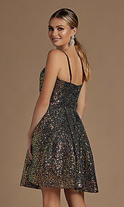 Image of sequin short fit-and-flare unique homecoming dress. Style: NA-21-R703 Detail Image 5
