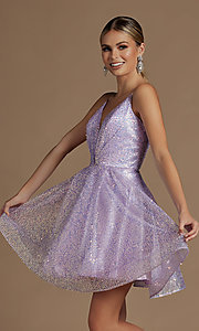 Image of sequin short fit-and-flare unique homecoming dress. Style: NA-21-R703 Detail Image 3