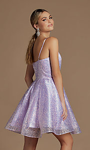 Image of sequin short fit-and-flare unique homecoming dress. Style: NA-21-R703 Detail Image 2