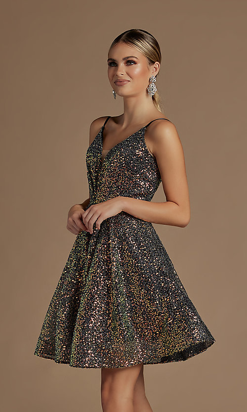 Image of sequin short fit-and-flare unique homecoming dress. Style: NA-21-R703 Detail Image 4