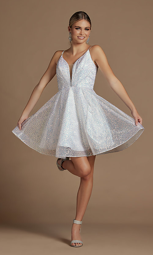Image of sequin short fit-and-flare unique homecoming dress. Style: NA-21-R703 Detail Image 1
