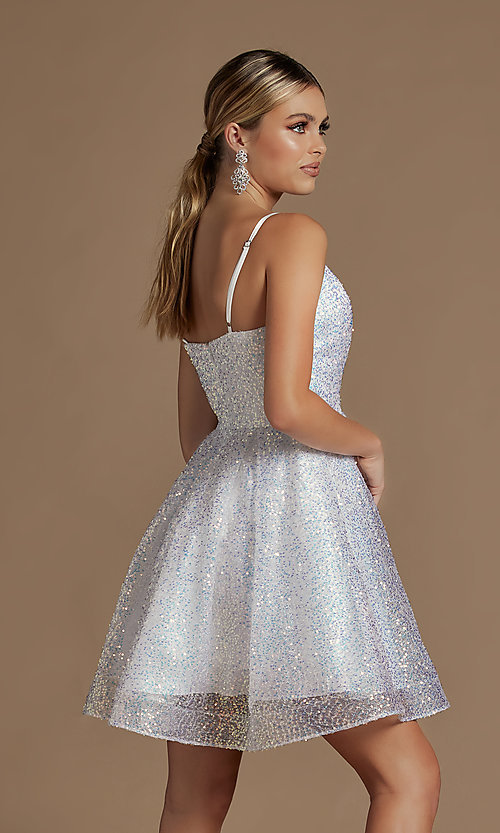 Image of sequin short fit-and-flare unique homecoming dress. Style: NA-21-R703 Back Image