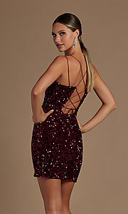 Image of short fancy sequin fitted homecoming dress. Style: NA-21-R704 Detail Image 3