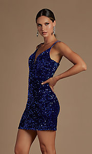 Image of short fancy sequin fitted homecoming dress. Style: NA-21-R704 Front Image