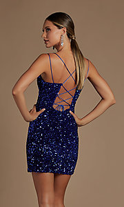 Image of short fancy sequin fitted homecoming dress. Style: NA-21-R704 Back Image