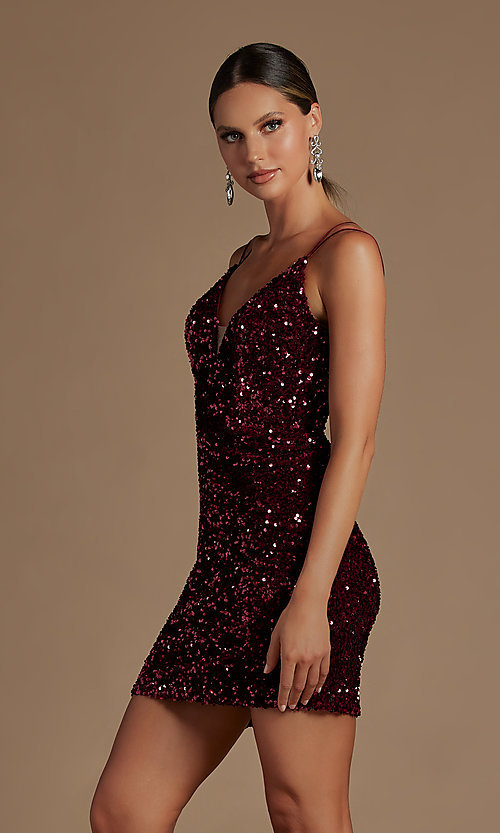Image of short fancy sequin fitted homecoming dress. Style: NA-21-R704 Detail Image 2