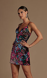 Image of multi-color sequin short lace-up homecoming dress. Style: NA-21-R702 Detail Image 1