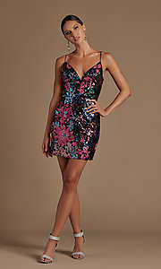 Image of multi-color sequin short lace-up homecoming dress. Style: NA-21-R702 Detail Image 2