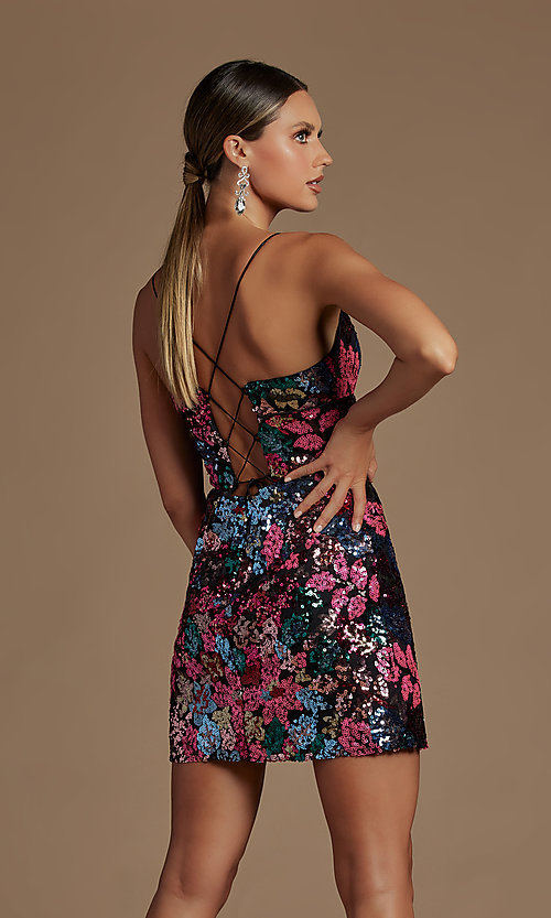 Image of multi-color sequin short lace-up homecoming dress. Style: NA-21-R702 Back Image