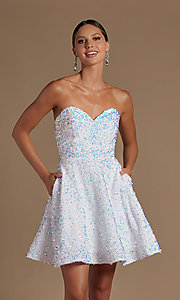 Image of sparkly sequin white strapless short hoco dress. Style: NA-21-R705 Detail Image 1