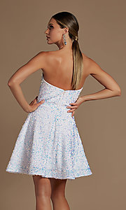 Image of sparkly sequin white strapless short hoco dress. Style: NA-21-R705 Back Image