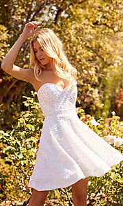 Image of sparkly sequin white strapless short hoco dress. Style: NA-21-R705 Front Image