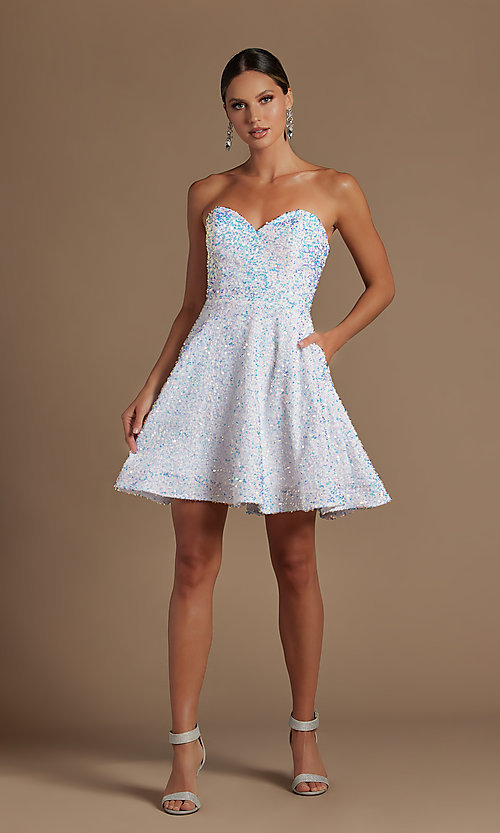 Image of sparkly sequin white strapless short hoco dress. Style: NA-21-R705 Detail Image 2