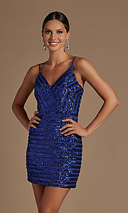 Image of v-neck short sequin-striped homecoming dress. Style: NA-21-R706 Detail Image 1