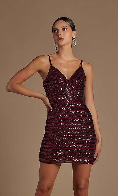 Image of v-neck short sequin-striped homecoming dress. Style: NA-21-R706 Detail Image 3