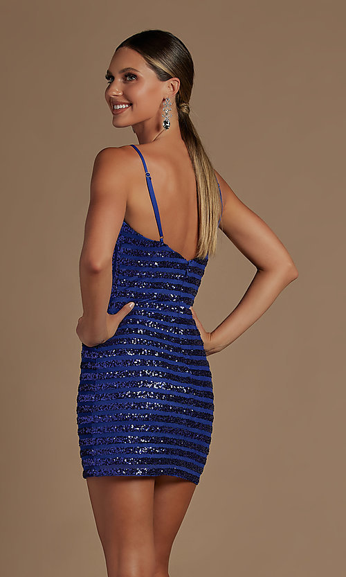 Image of v-neck short sequin-striped homecoming dress. Style: NA-21-R706 Detail Image 2