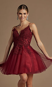 Image of short corset-back baby doll cute homecoming dress. Style: NA-21-R707 Detail Image 3