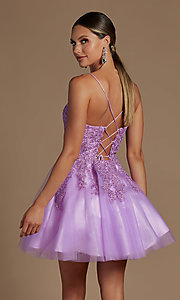 Image of short corset-back baby doll cute homecoming dress. Style: NA-21-R707 Detail Image 6