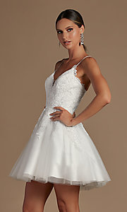 Image of short corset-back baby doll cute homecoming dress. Style: NA-21-R707 Front Image
