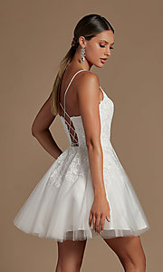 Image of short corset-back baby doll cute homecoming dress. Style: NA-21-R707 Back Image