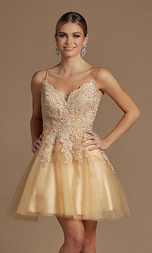 Image of short corset-back baby doll cute homecoming dress. Style: NA-21-R707 Detail Image 1