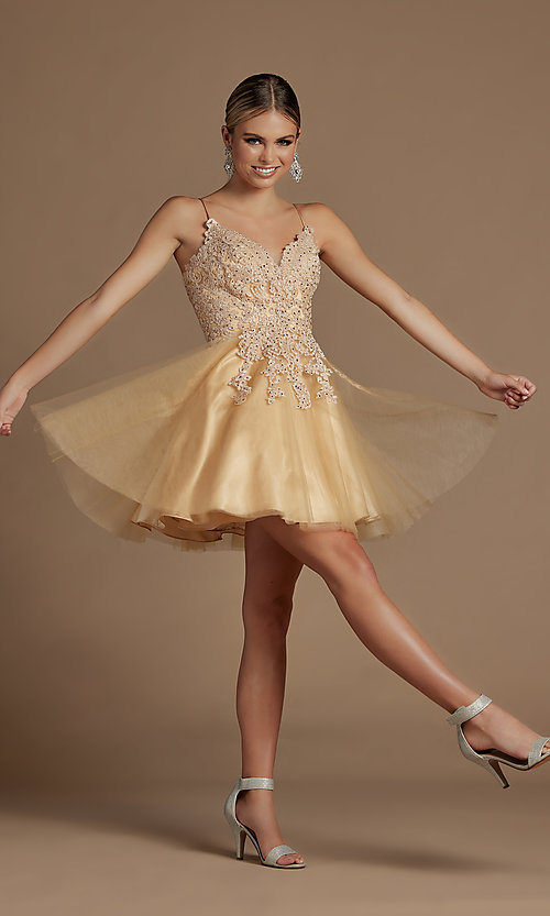 Image of short corset-back baby doll cute homecoming dress. Style: NA-21-R707 Detail Image 2