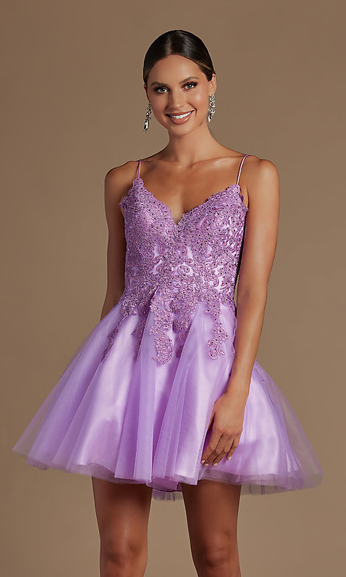 Image of short corset-back baby doll cute homecoming dress. Style: NA-21-R707 Detail Image 5