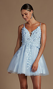 Image of floral applique short babydoll homecoming dress. Style: NA-21-R709 Detail Image 1