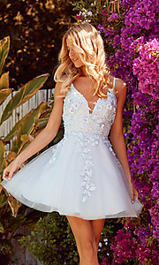 Image of floral applique short babydoll homecoming dress. Style: NA-21-R709 Front Image