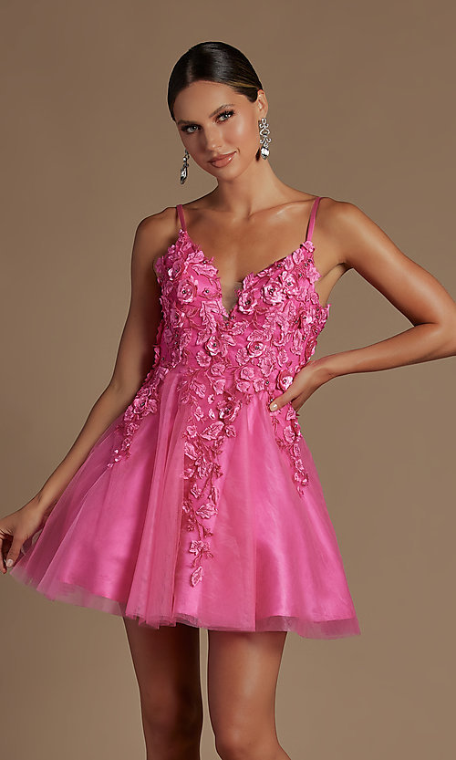 Image of floral applique short babydoll homecoming dress. Style: NA-21-R709 Detail Image 2