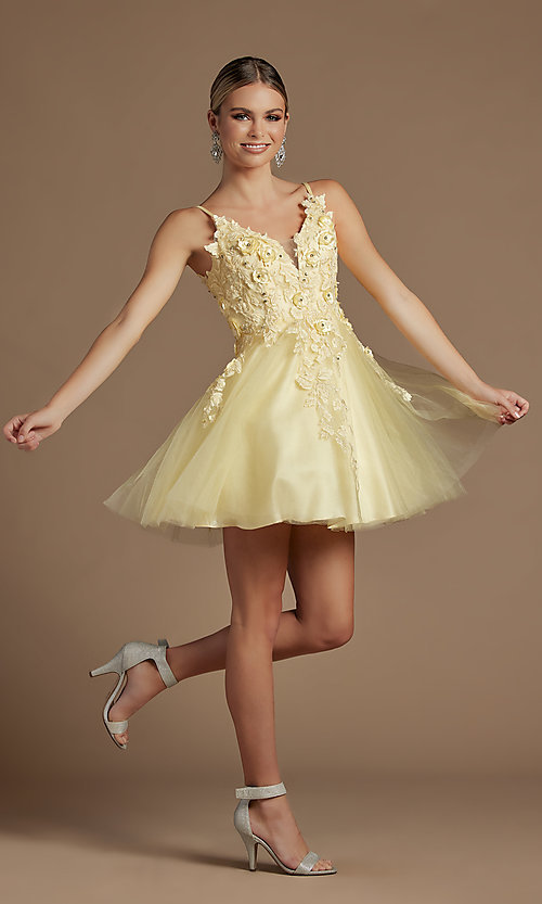 Image of floral applique short babydoll homecoming dress. Style: NA-21-R709 Detail Image 5