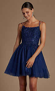 Image of short embroidered corset-back homecoming dress. Style: NA-21-T718 Detail Image 2