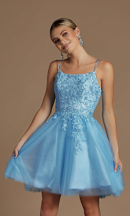 Image of short embroidered corset-back homecoming dress. Style: NA-21-T718 Front Image