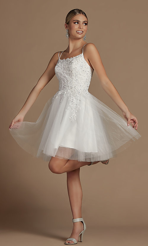 Image of short embroidered corset-back homecoming dress. Style: NA-21-T718 Detail Image 3