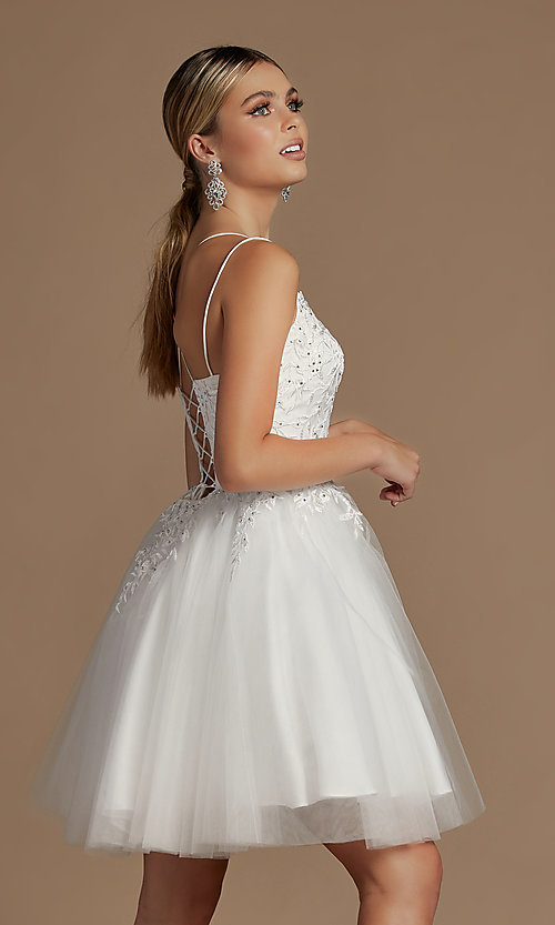 Image of short embroidered corset-back homecoming dress. Style: NA-21-T718 Back Image