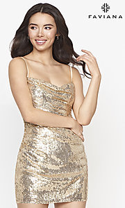 Image of cowl-neck Faviana short sequin homecoming dress. Style: FA-21-S10603 Front Image
