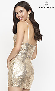 Image of cowl-neck Faviana short sequin homecoming dress. Style: FA-21-S10603 Back Image