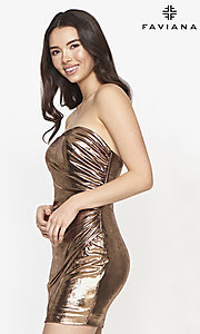 Image of Faviana short strapless copper homecoming dress. Style: FA-21-S10607 Detail Image 1