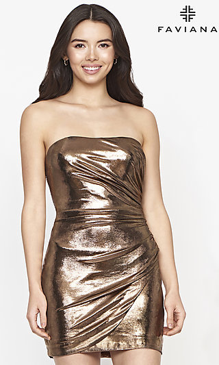Ruched Short Strapless Metallic Homecoming Dress