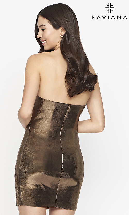 Image of Faviana short strapless copper homecoming dress. Style: FA-21-S10607 Back Image