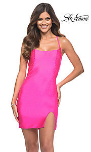 Image of hot pink backless La Femme short homecoming dress. Style: LF-21-30304 Front Image