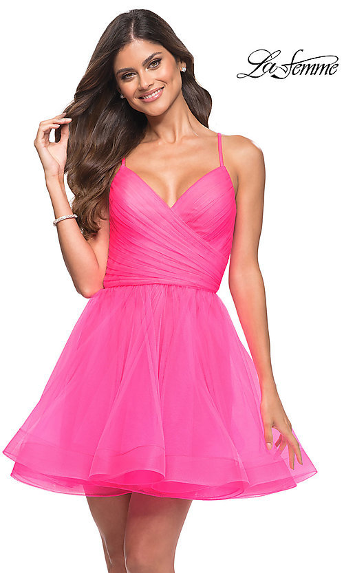 Image of neon pink La Femme short babydoll homecoming dress. Style: LF-21-30345 Front Image