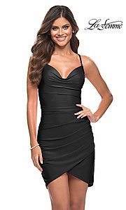 Image of La Femme sexy ruched short tight homecoming dress. Style: LF-21-30356 Front Image