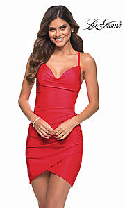 Image of La Femme sexy ruched short tight homecoming dress. Style: LF-21-30356 Detail Image 1