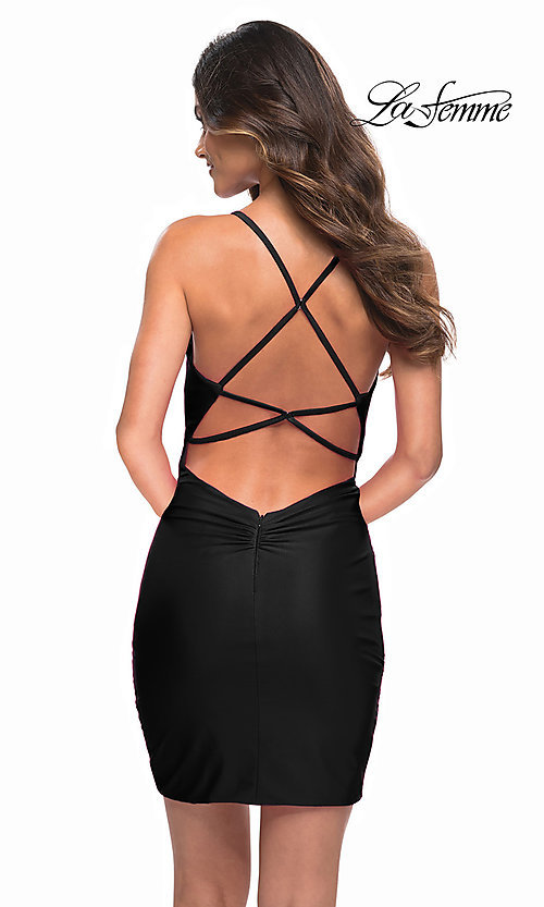 Image of La Femme sexy ruched short tight homecoming dress. Style: LF-21-30356 Back Image